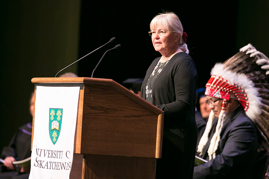 Grit McCreath speaks at Convocation