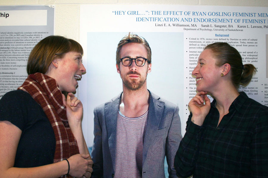 Sarah Sangster and Linzi Williamson pose with their subject, Ryan Gosling