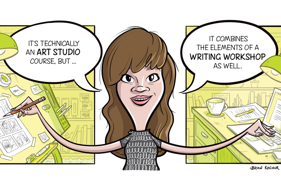 Courtney Loberg, in comic form. (Illustration by Brian Kachur.)