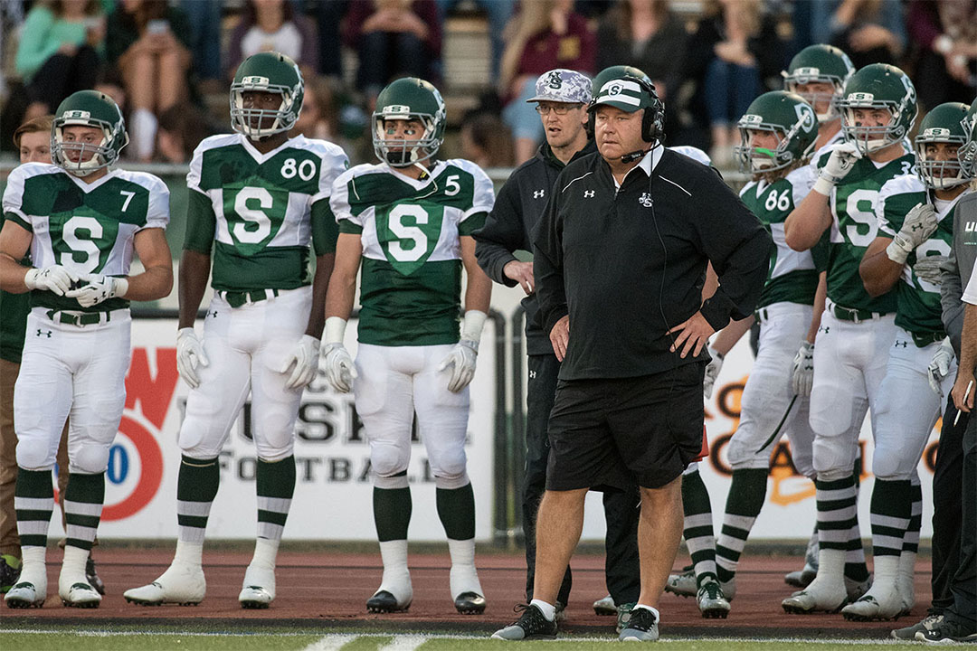 University of Saskatchewan Huskies head coach Brian Towriss looks on in a game at PotashCorp Park in Saskatoon (photo by Electric Umbrella/Liam Richards).