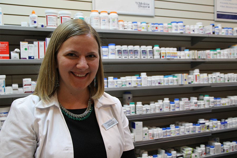 Carla Guedo, owner of the Medicine Shoppe Pharmacy in Place Riel