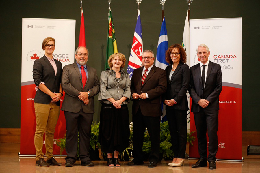 Speakers from the event where $77.8 million was announced for Global Water Futures. From left: PhD student Holly Anand; John Pomeroy, Canada Research Chair in Water Resources and Climate Change; Karen Chad, vice-president, research, Hon. Ralph Goodale, Minister of Public Safety and Emergency Preparedness; Bettina Hamelin, vice-president of partnerships, NSERC; and Peter Stoicheff, U of S president.