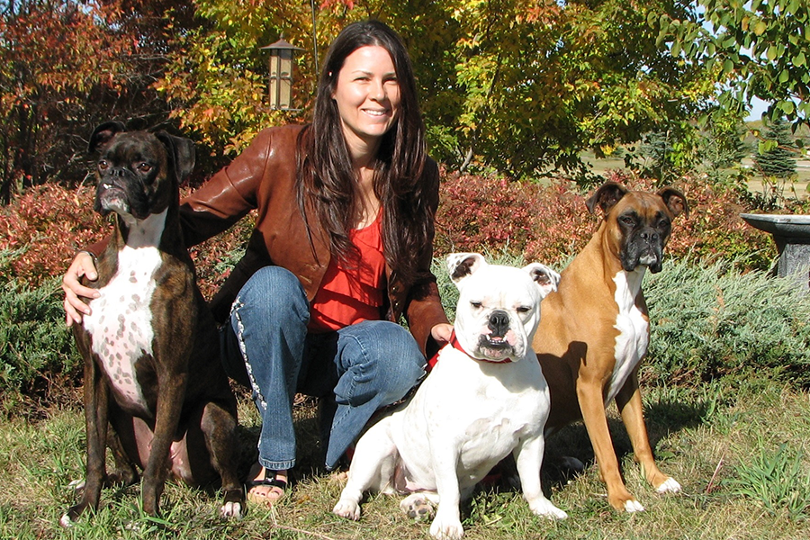 Subie, Anna-Belle and Kisbey with their human, Colleen Dell.