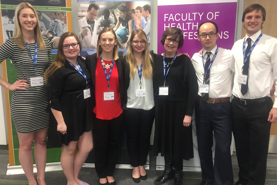 The winning team, consisting of Amanda Geradts (nutrition), Jessica Landrie (advisor, nursing), Hallie MacLachlan (nursing), Carly Legault (veterinary medicine), Heather Thiessen (patient advocate/advisor), Lin Wang (pharmacy) and Matthias Muller (physical therapy).