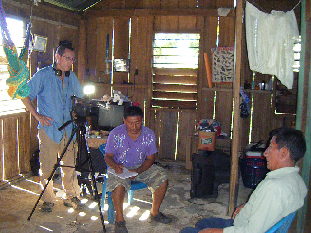 James Waldram (left) and cultural interpreter Tomas Caal (centre) interview Q'eqchi' Mayan healer Francisco Caal in southern Belize as part of a documentary film. (Submitted photo)