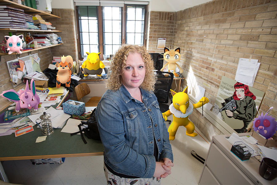 Regan Mandryk, associate professor in the Department of Computer Science (photo by David Stobbe, illustration by Brian Kachur)