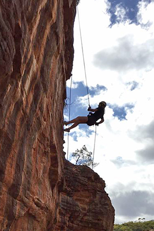 Rock climbing in Kalbarri National Park, Australia.