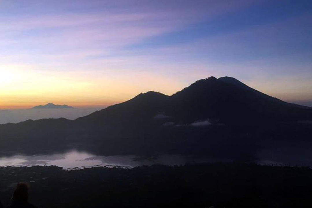 The view from the top of Mount Batur in Bali, Indonesia.