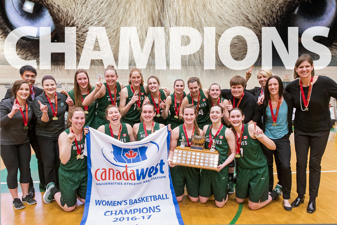 The Huskies are repeat Canada West women's basketball champs (photo by Huskie Athletics/GetMyPhoto.ca).