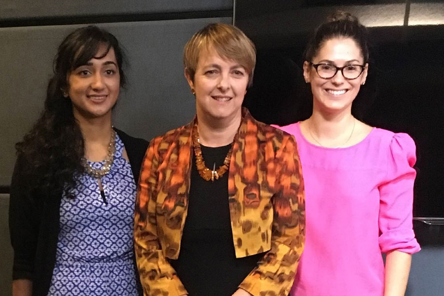 U of S alumni and PSP campaigners Harsha Kasi Vishwanathan (left) and Lesley James (right) with the Honourable Nicola Roxon, former Australian Minister for Health. PSP was implemented in Australia in 2012.
